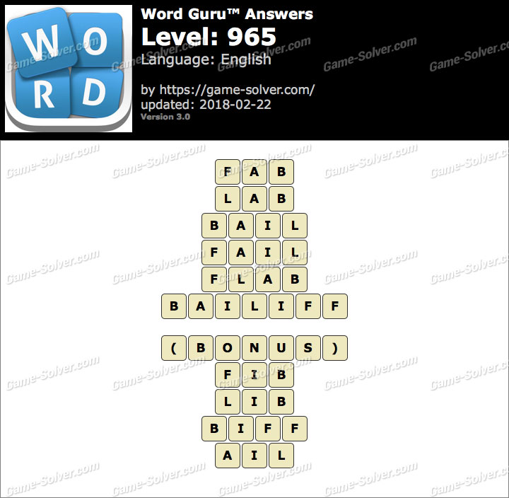 Word Guru Level 965 Answers