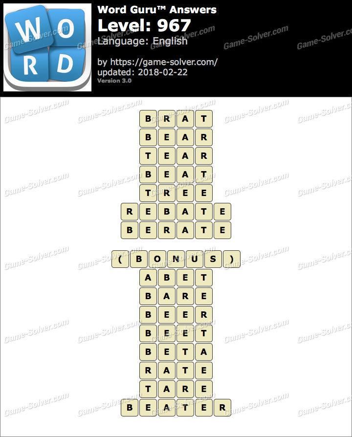 Word Guru Level 967 Answers