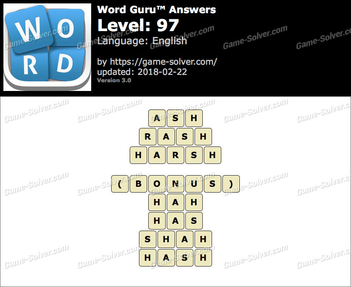 Word Guru Level 97 Answers