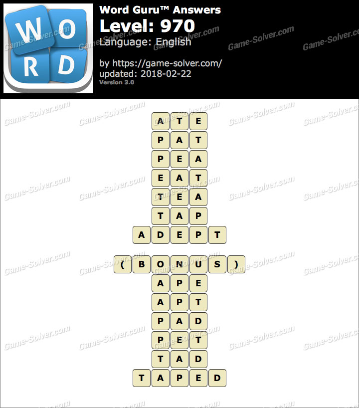 Word Guru Level 970 Answers