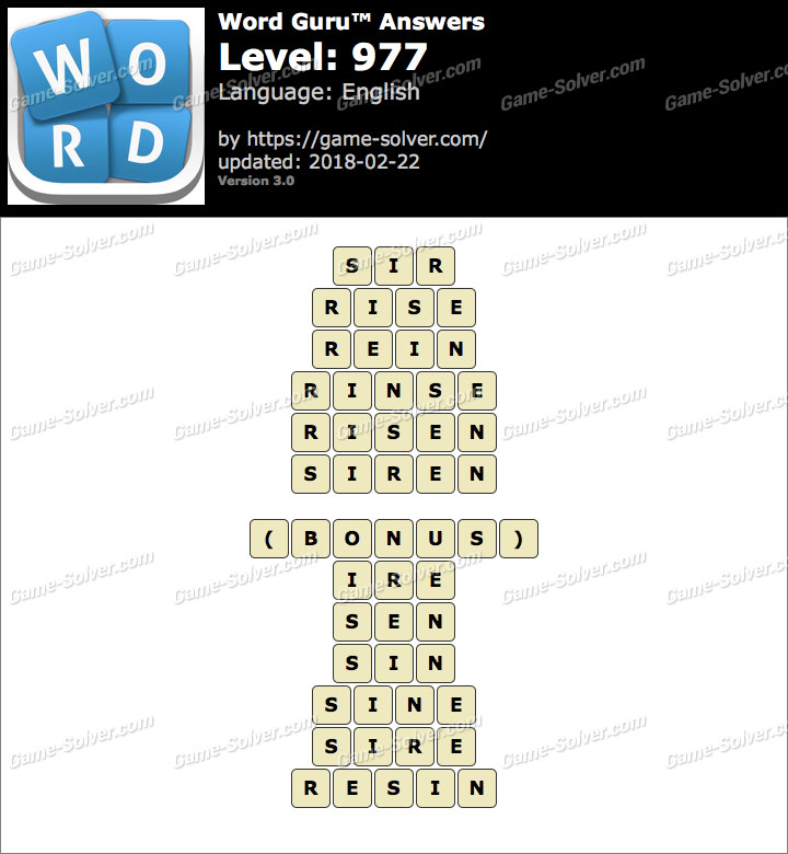 Word Guru Level 977 Answers