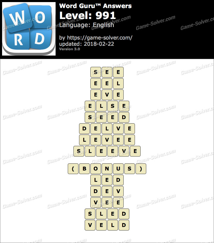Word Guru Level 991 Answers