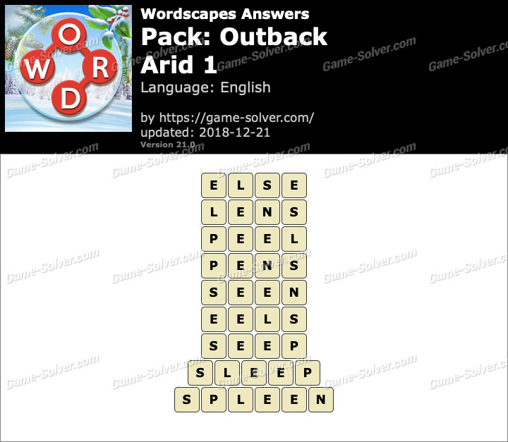 Wordscapes Outback-Arid 1 Answers