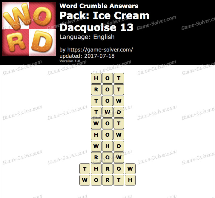 Word Crumble Ice Cream-Dacquoise 13 Answers
