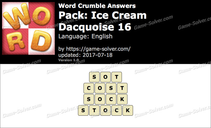Word Crumble Ice Cream-Dacquoise 16 Answers