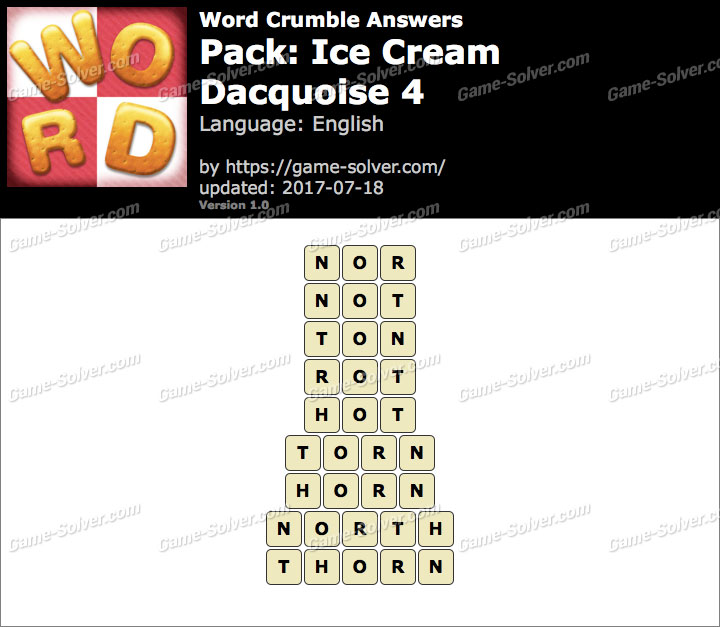Word Crumble Ice Cream-Dacquoise 4 Answers