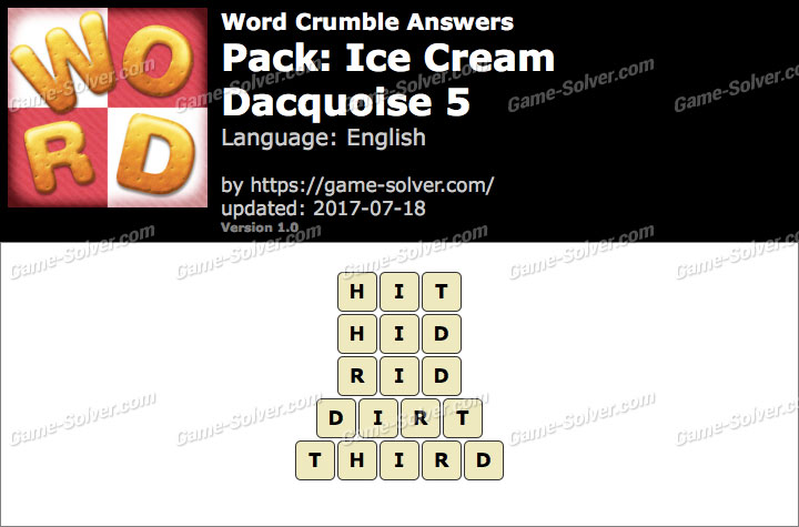 Word Crumble Ice Cream-Dacquoise 5 Answers