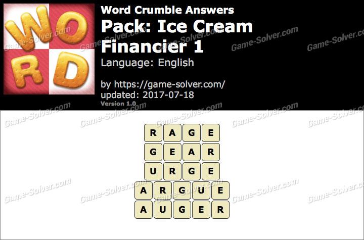 Word Crumble Ice Cream-Financier 1 Answers