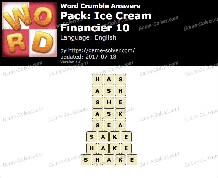 Word Crumble Ice Cream-Financier 10 Answers