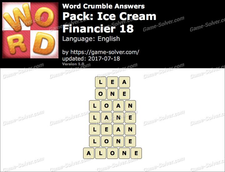 Word Crumble Ice Cream-Financier 18 Answers