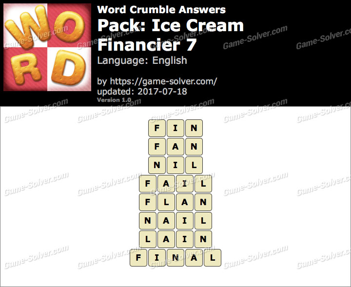 Word Crumble Ice Cream-Financier 7 Answers