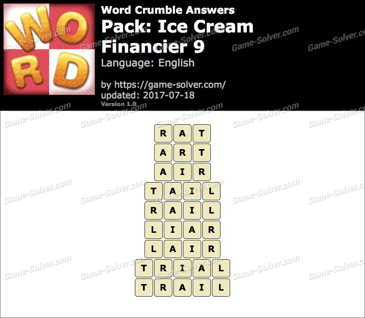 Word Crumble Ice Cream-Financier 9 Answers