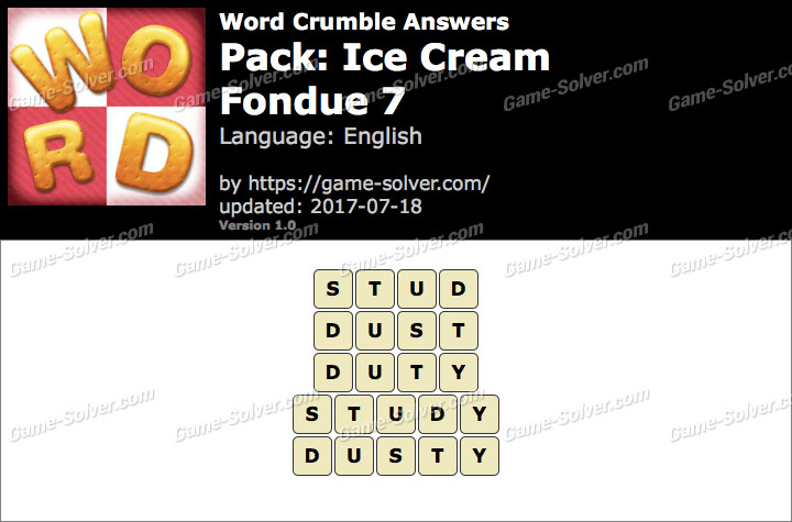 Word Crumble Ice Cream-Fondue 7 Answers
