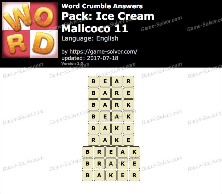 Word Crumble Ice Cream-Malicoco 11 Answers