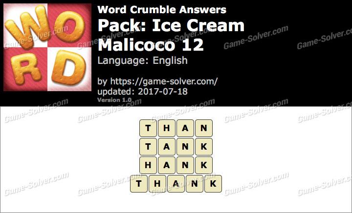 Word Crumble Ice Cream-Malicoco 12 Answers