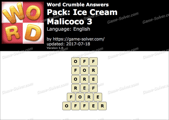 Word Crumble Ice Cream-Malicoco 3 Answers