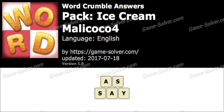 Word Crumble Ice Cream-Malicoco4 Answers
