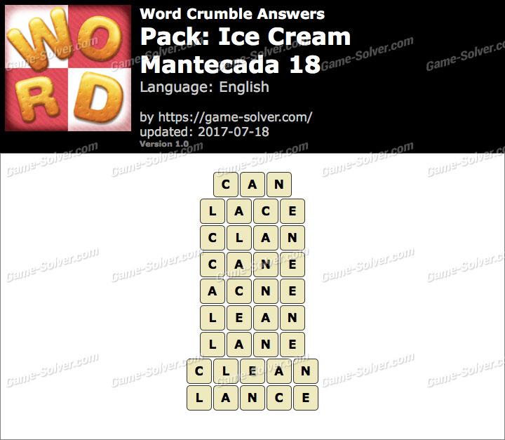 Word Crumble Ice Cream-Mantecada 18 Answers