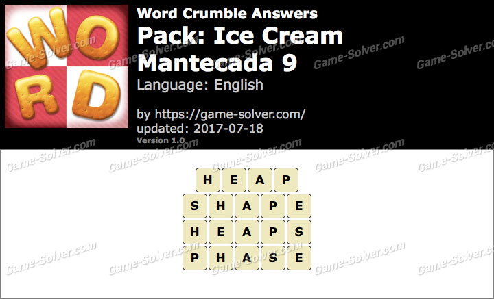 Word Crumble Ice Cream-Mantecada 9 Answers