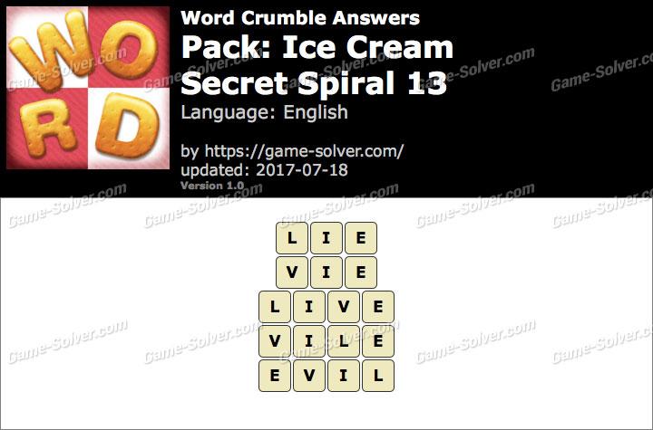 Word Crumble Ice Cream-Secret Spiral 13 Answers
