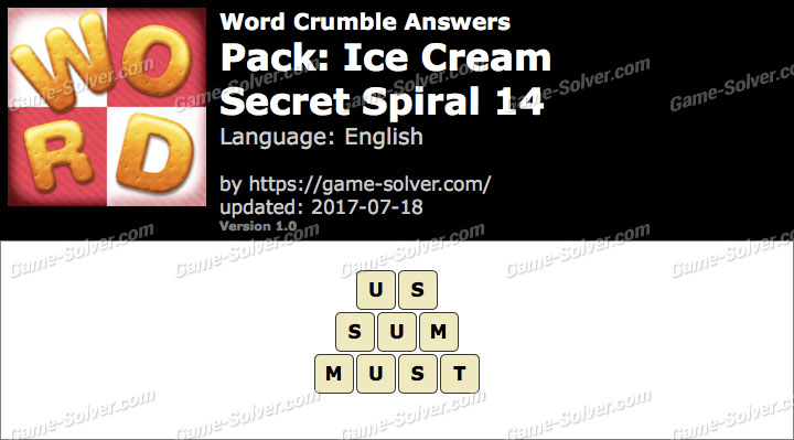Word Crumble Ice Cream-Secret Spiral 14 Answers