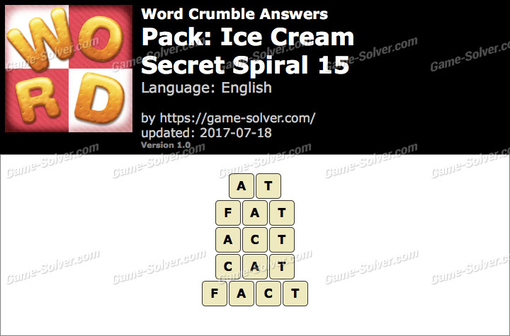 Word Crumble Ice Cream-Secret Spiral 15 Answers