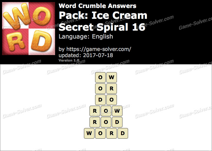 Word Crumble Ice Cream-Secret Spiral 16 Answers