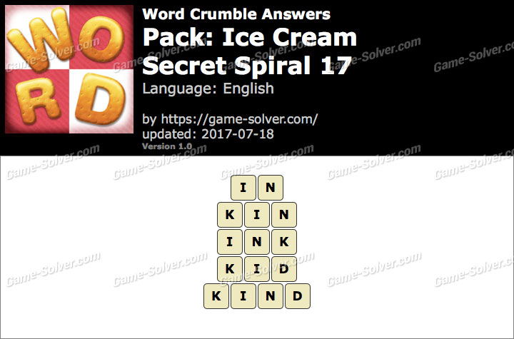 Word Crumble Ice Cream-Secret Spiral 17 Answers