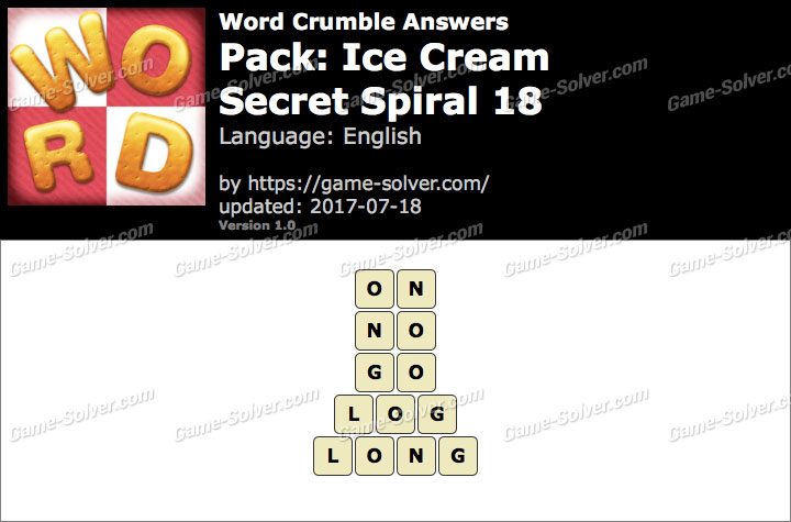 Word Crumble Ice Cream-Secret Spiral 18 Answers