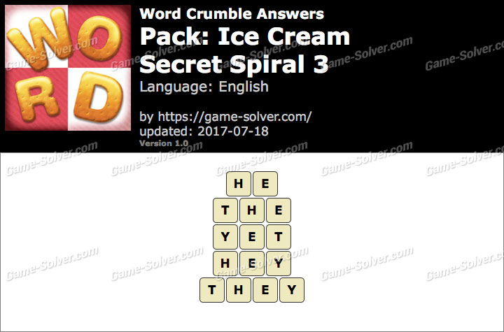 Word Crumble Ice Cream-Secret Spiral 3 Answers