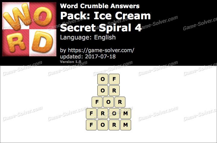 Word Crumble Ice Cream-Secret Spiral 4 Answers