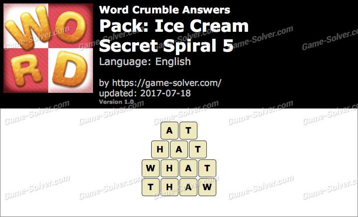 Word Crumble Ice Cream-Secret Spiral 5 Answers
