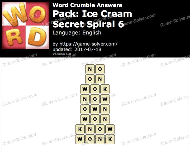 Word Crumble Ice Cream-Secret Spiral 6 Answers