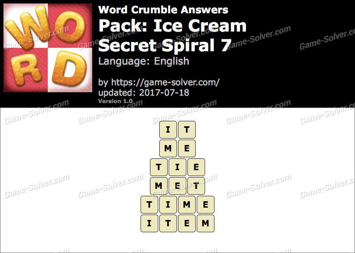 Word Crumble Ice Cream-Secret Spiral 7 Answers
