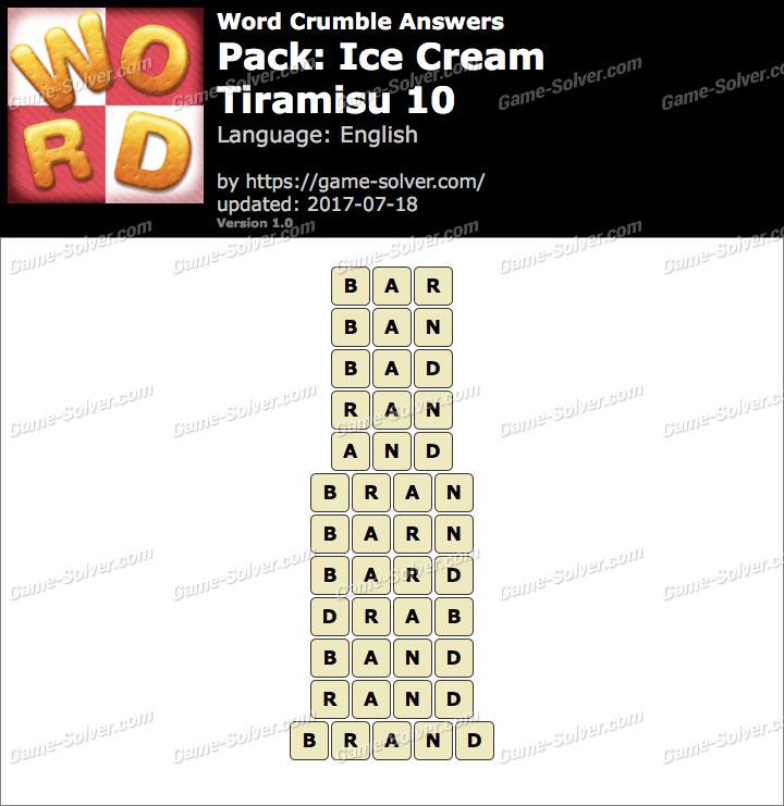 Word Crumble Ice Cream-Tiramisu 10 Answers