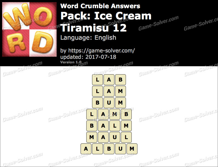 Word Crumble Ice Cream-Tiramisu 12 Answers