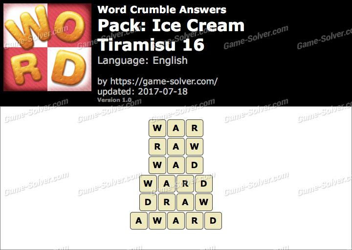 Word Crumble Ice Cream-Tiramisu 16 Answers
