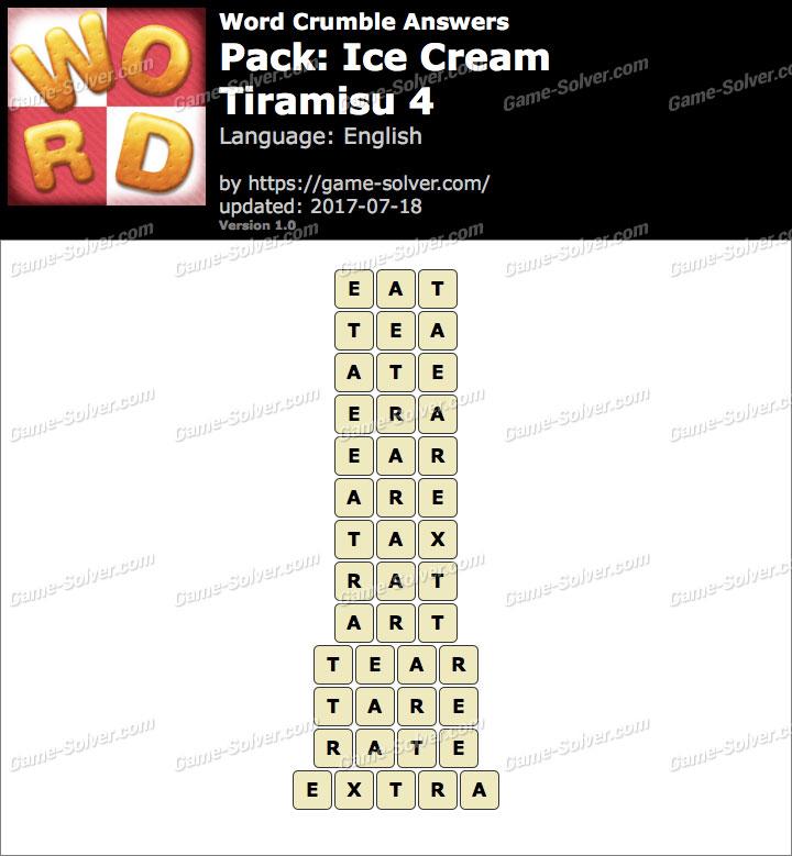 Word Crumble Ice Cream-Tiramisu 4 Answers