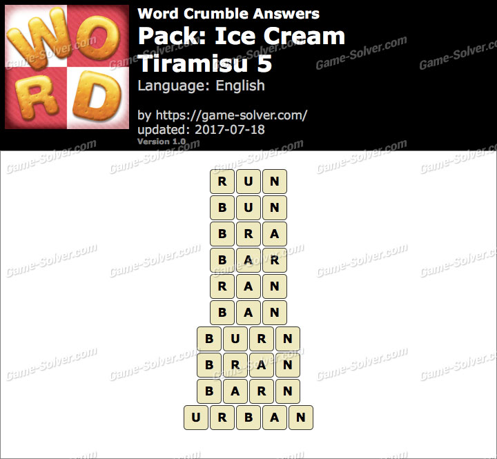 Word Crumble Ice Cream-Tiramisu 5 Answers