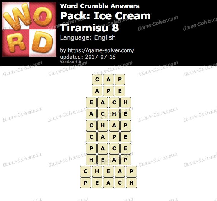 Word Crumble Ice Cream-Tiramisu 8 Answers