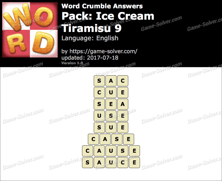 Word Crumble Ice Cream-Tiramisu 9 Answers
