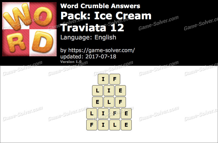 Word Crumble Ice Cream-Traviata 12 Answers