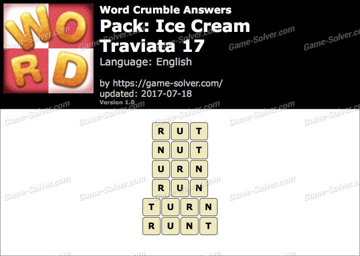 Word Crumble Ice Cream-Traviata 17 Answers