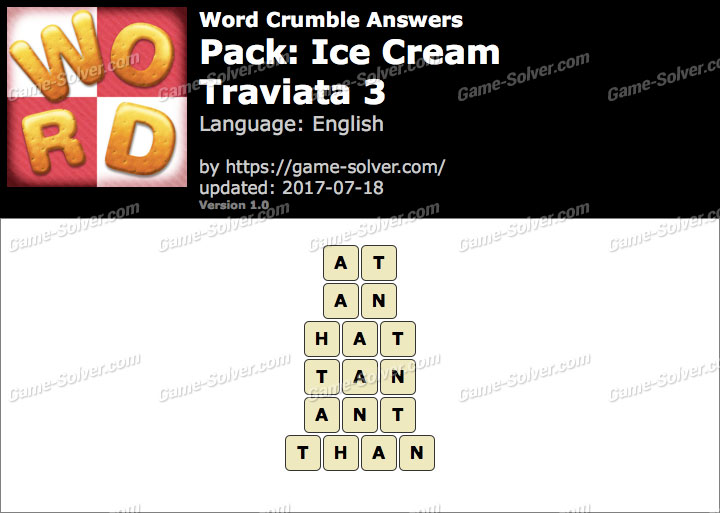 Word Crumble Ice Cream-Traviata 3 Answers
