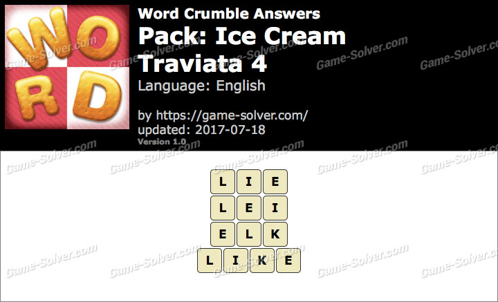 Word Crumble Ice Cream-Traviata 4 Answers