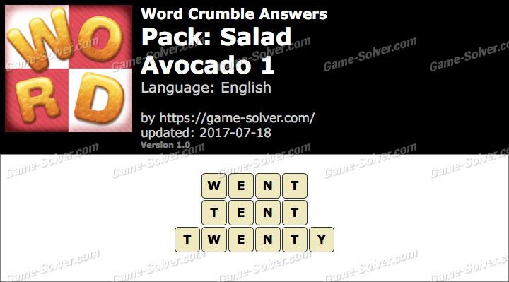 Word Crumble Salad-Avocado 1 Answers