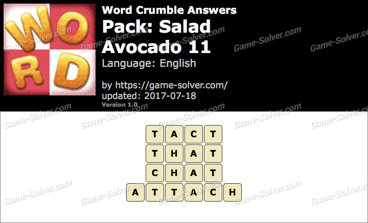 Word Crumble Salad-Avocado 11 Answers