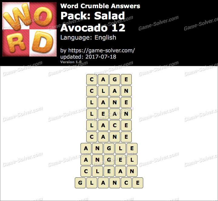 Word Crumble Salad-Avocado 12 Answers