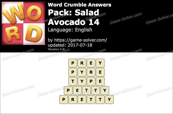 Word Crumble Salad-Avocado 14 Answers