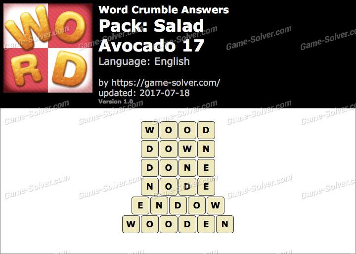 Word Crumble Salad-Avocado 17 Answers